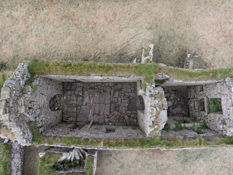 Near vertical aerial view of Eynhallow church nave looking NNE.