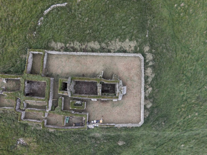 Near vertical aerial view of Eynhallow church looking NNE.