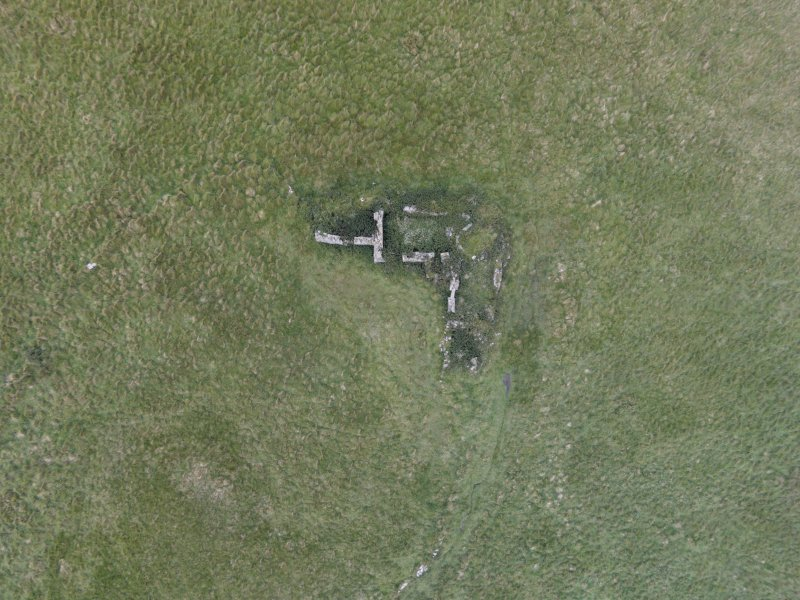 Near vertical aerial view of Eynhallow farmstead looking north east.