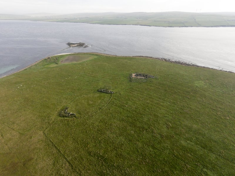 General oblique aerial view of Eynhallow looking south east.