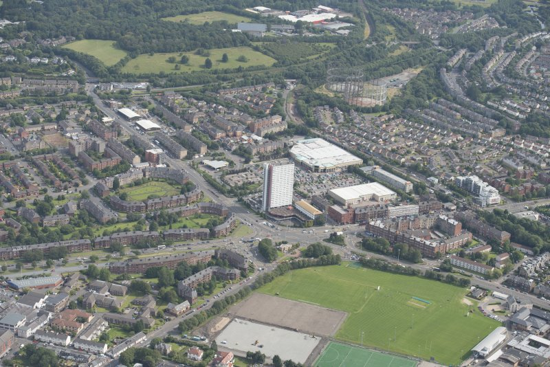 Oblique aerial view of Anniesland Court, looking NE.