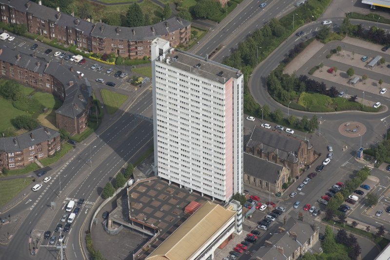 Oblique aerial view of Anniesland Court, looking NNW.