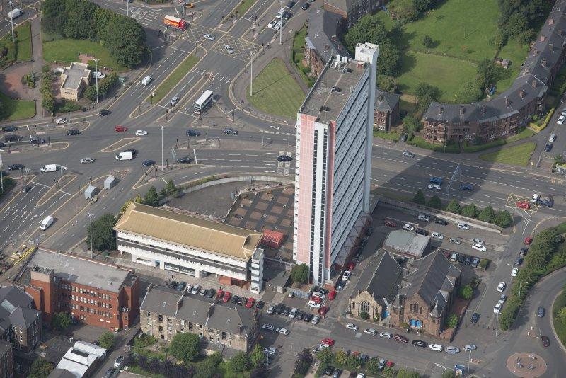 Oblique aerial view of Anniesland Court, looking W.