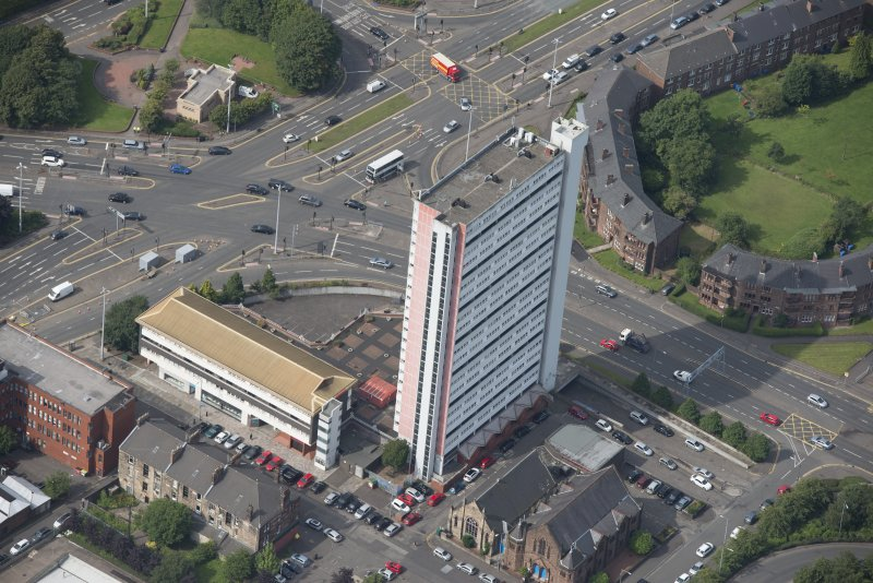 Oblique aerial view of Anniesland Court, looking WSW.