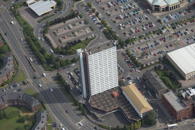 Oblique aerial view of Anniesland Court, looking ENE.