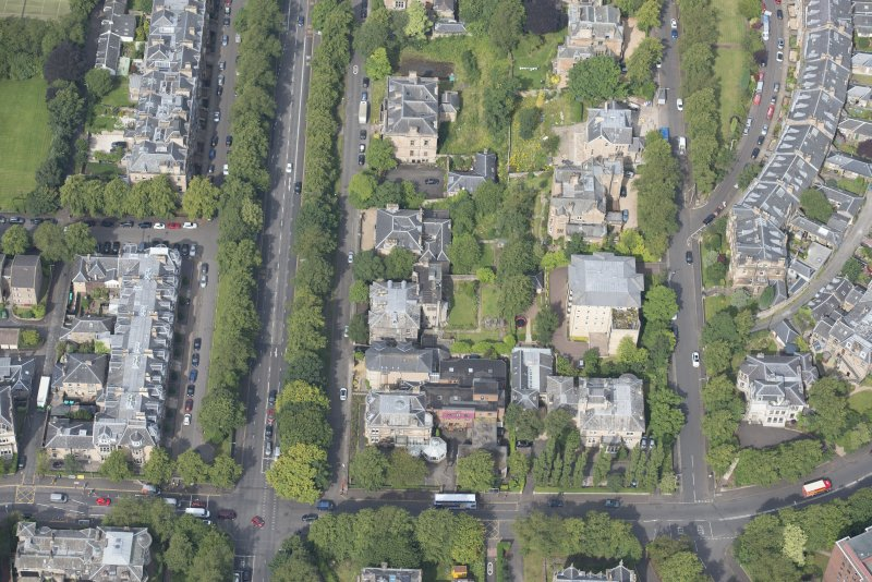 Oblique aerial view of Carlston Club, Carlston Club garage and 10 Cleveden Gardens, looking WNW.