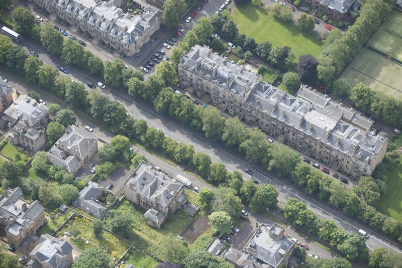 Oblique aerial view of Carlston Club, Carlston Club garage and 10 Cleveden Gardens, looking S.
