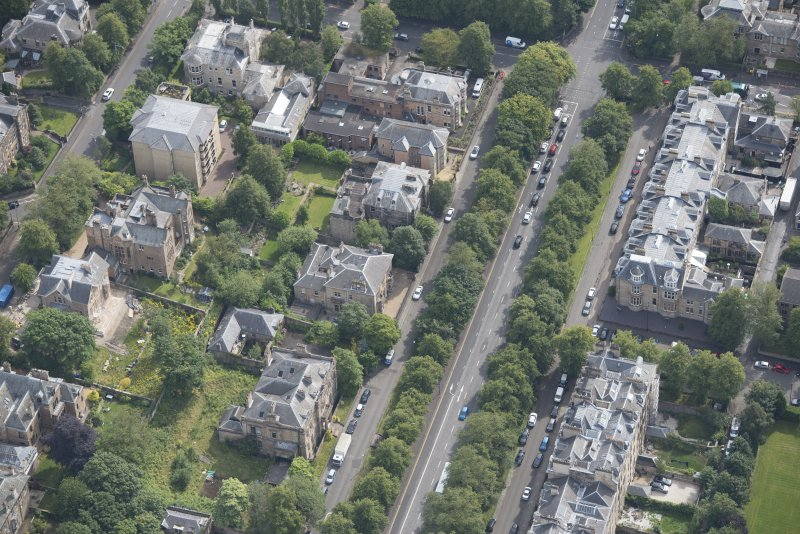 Oblique aerial view of Carlston Club, Carlston Club garage and 10 Cleveden Gardens, looking ESE.
