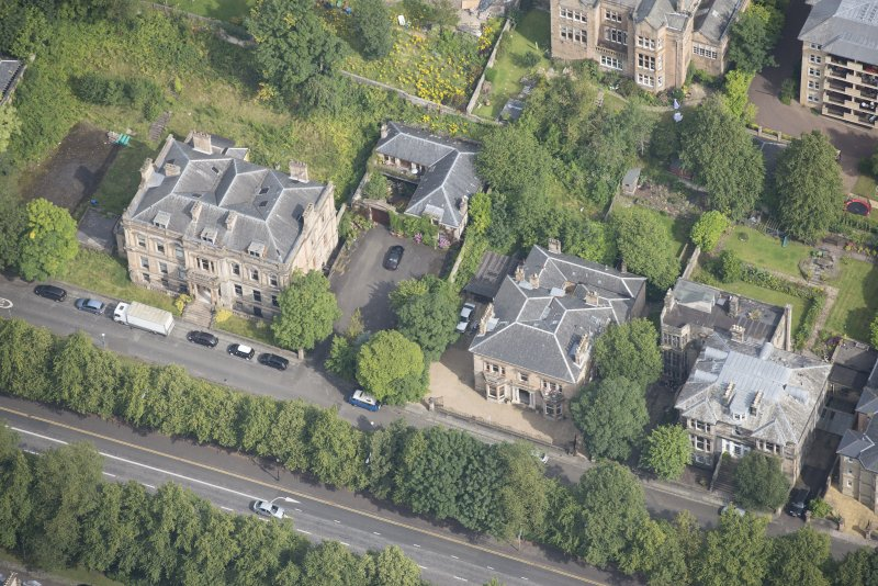Oblique aerial view of Carlston Club, Carlston Club garage and 10 Cleveden Gardens, looking NNW.