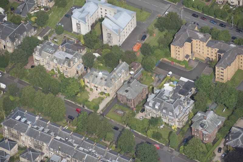 Oblique aerial view of 15 Cleveden Gardens, looking NW.