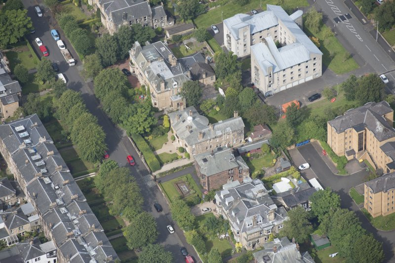 Oblique aerial view of 15 Cleveden Gardens, looking NNW.