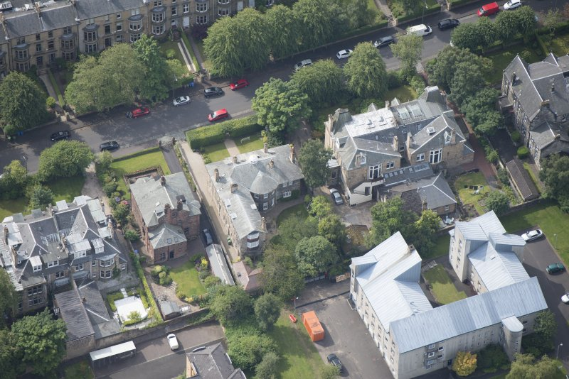 Oblique aerial view of 15 Cleveden Gardens, looking SSW.