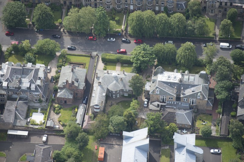 Oblique aerial view of 15 Cleveden Gardens, looking S.