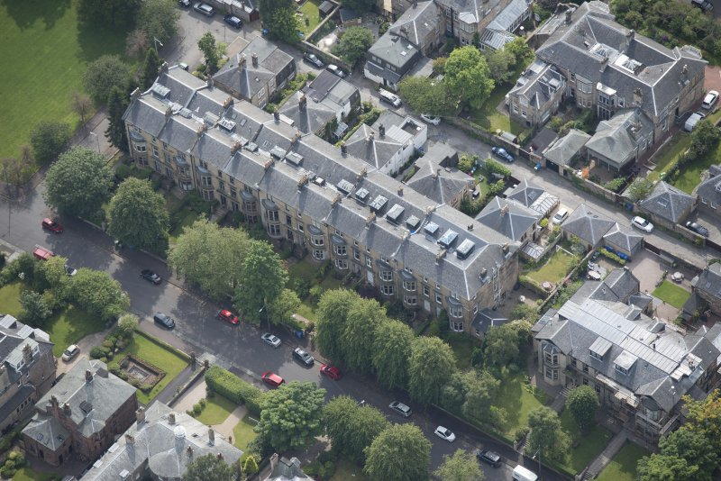 Oblique aerial view of 15 Cleveden Gardens, looking SSE.