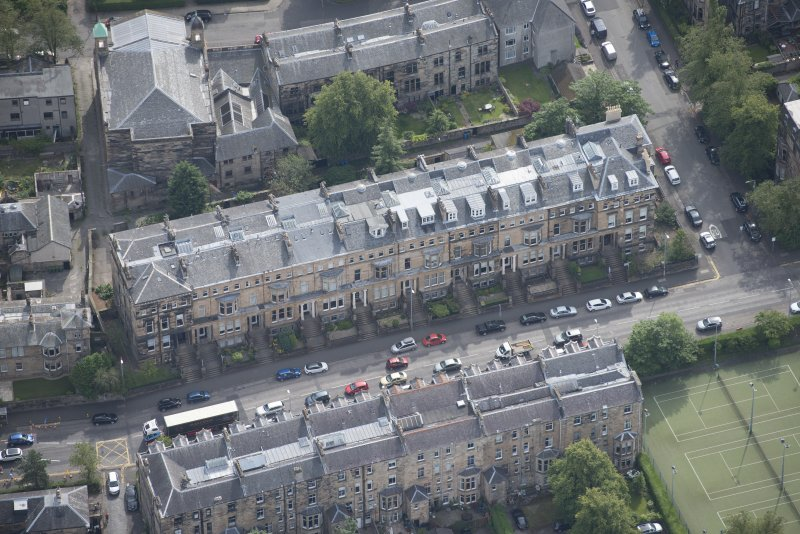 Oblique aerial view of Hyndland Road, looking SE.