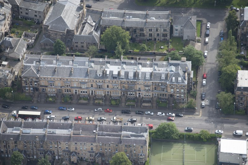 Oblique aerial view of Hyndland Road, looking ESE.