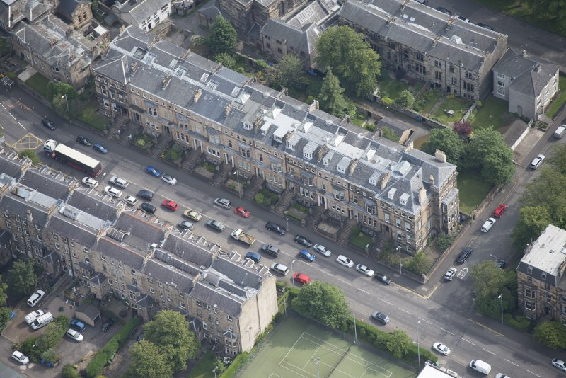 Oblique aerial view of Hyndland Road, looking E.