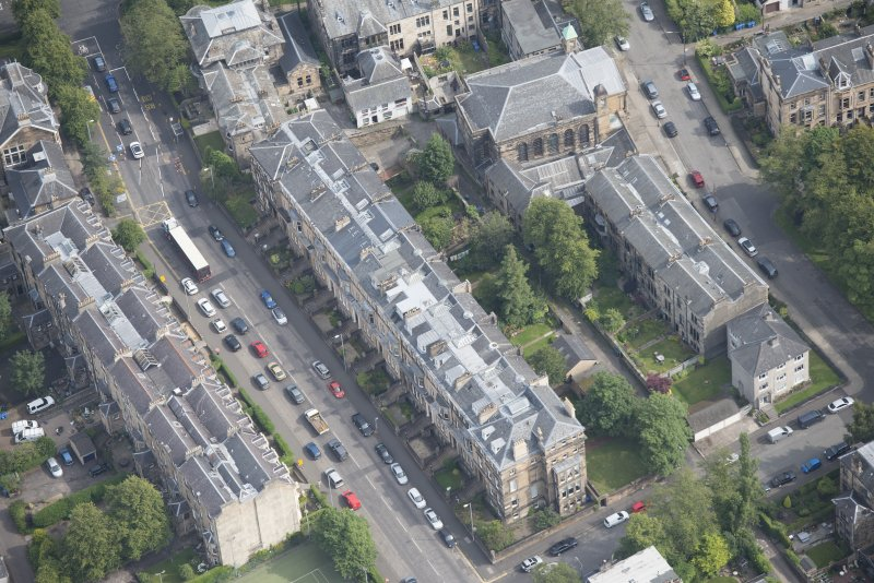 Oblique aerial view of Hyndland Road, Belhaven-Westbourne Church and church hall, looking ENE.