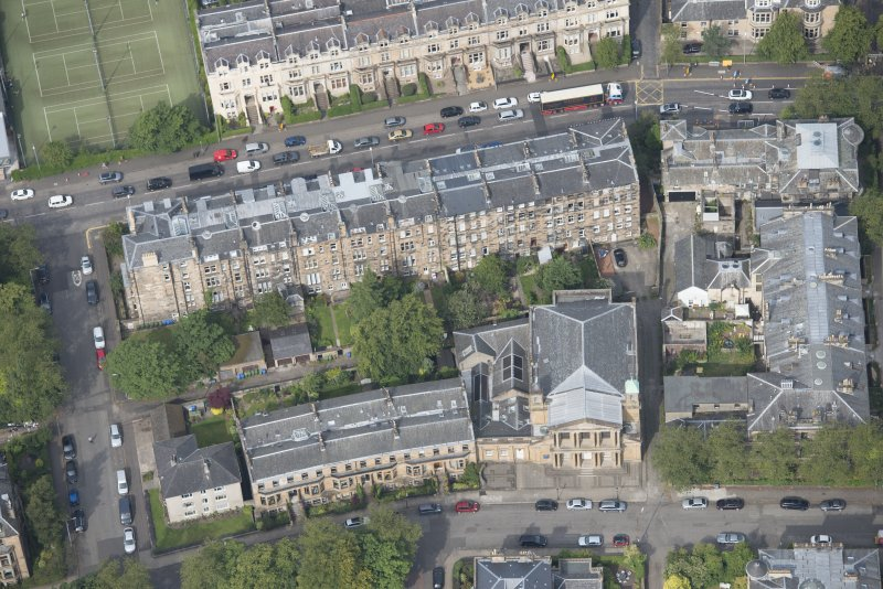 Oblique aerial view of Hyndland Road, Belhaven-Westbourne Church and church hall, looking WNW.