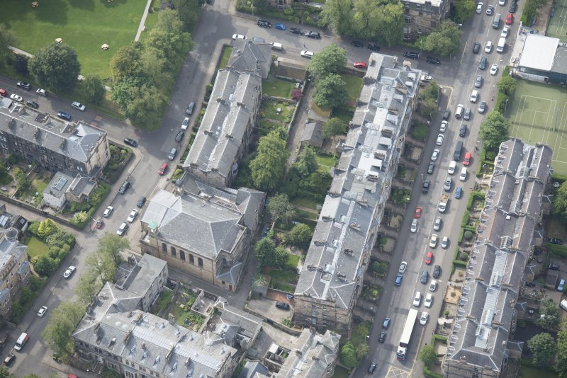 Oblique aerial view of Belhaven-Westbourne Church and church hall, looking SSW.