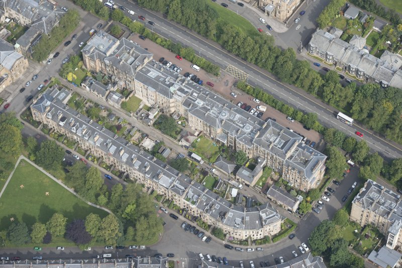 Oblique aerial view of Westbourne Gardens and Great Western Terrace, looking N.