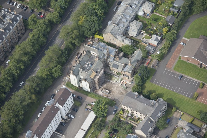 Oblique aerial view of 9 and 10 Lowther Terrace, looking W.