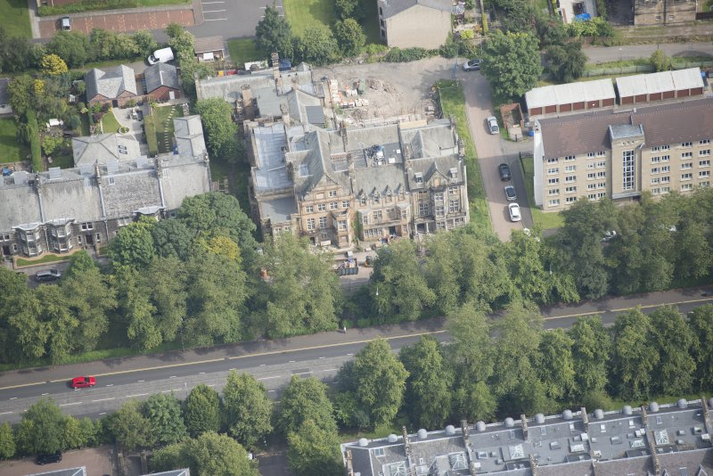 Oblique aerial view of 9 and 10 Lowther Terrace, looking NE.