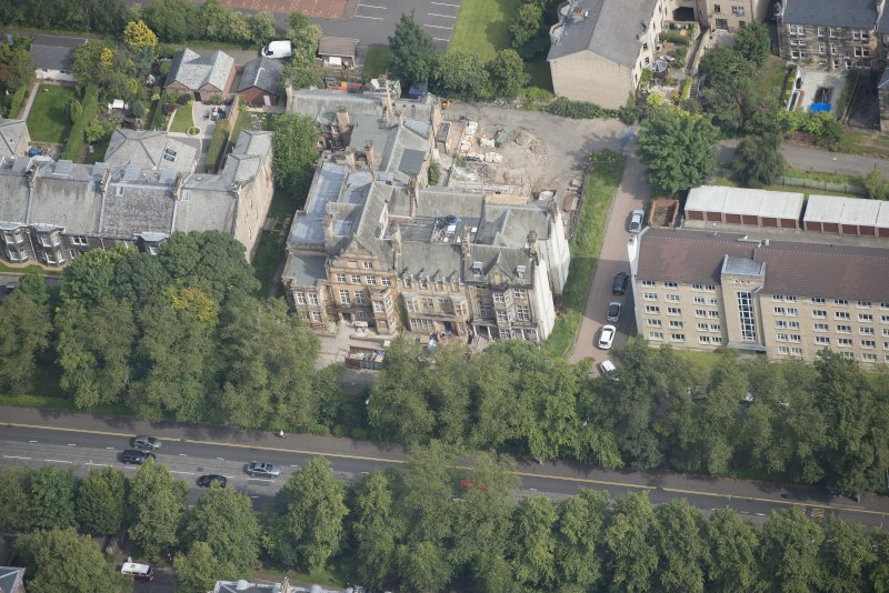 Oblique aerial view of 9 and 10 Lowther Terrace, looking NNE.