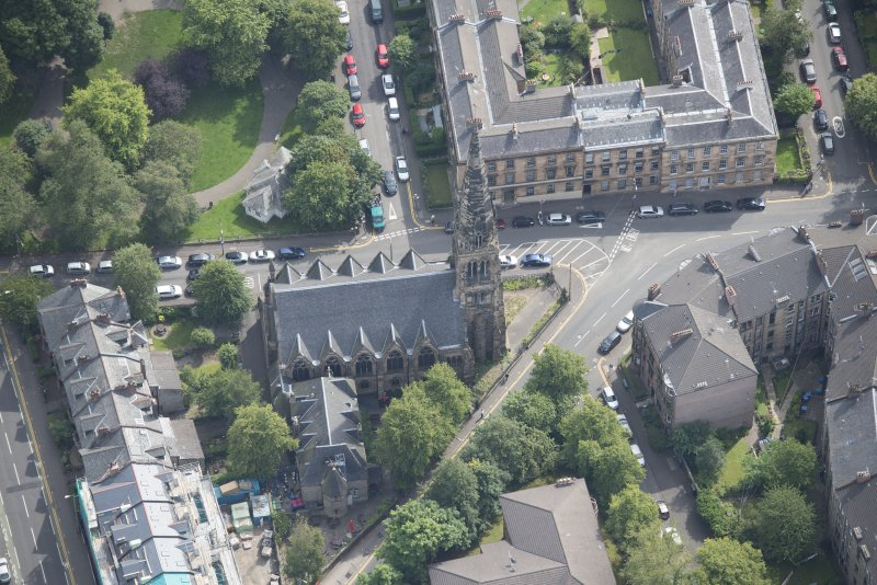 Oblique aerial view of Dowanhill Presbyterian Church and Dowanhill Presbyterian Church Hall, looking ESE.