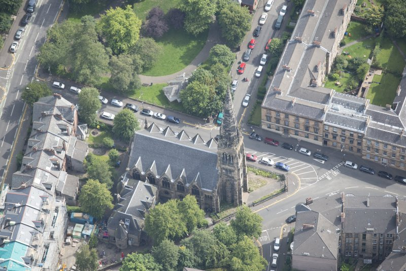 Oblique aerial view of Dowanhill Presbyterian Church and Dowanhill Presbyterian Church Hall, looking E.