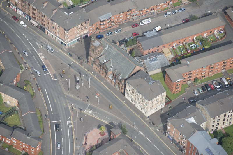 Oblique aerial view of Queen's Cross Church, looking NW.