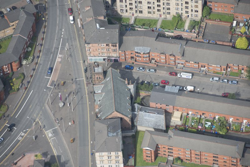 Oblique aerial view of Queen's Cross Church, looking WNW.