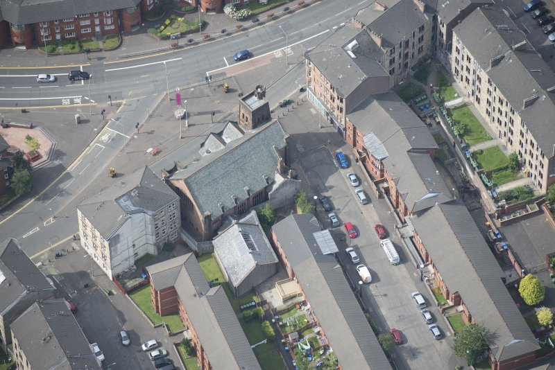 Oblique aerial view of Queen's Cross Church, looking WSW.