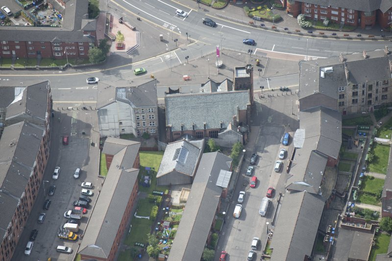 Oblique aerial view of Queen's Cross Church, looking SW.