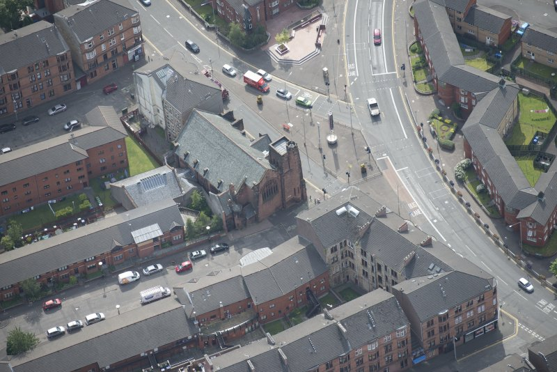 Oblique aerial view of Queen's Cross Church, looking SSE.