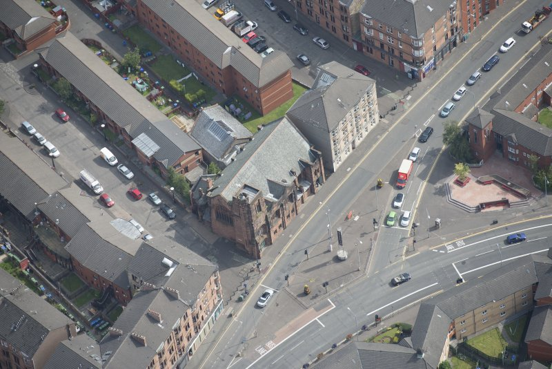 Oblique aerial view of Queen's Cross Church, looking E.