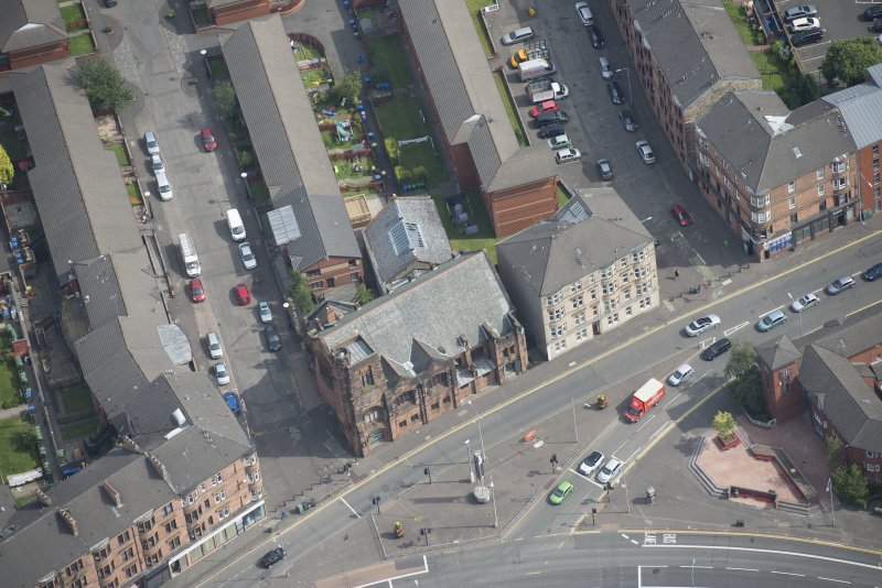 Oblique aerial view of Queen's Cross Church, looking ENE.