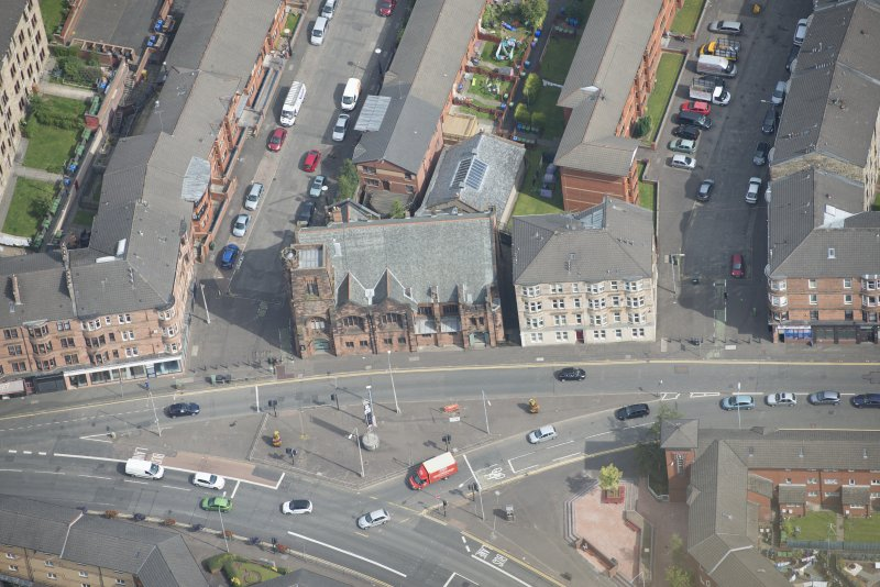 Oblique aerial view of Queen's Cross Church, looking NNE.
