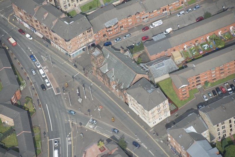 Oblique aerial view of Queen's Cross Church, looking NNW.