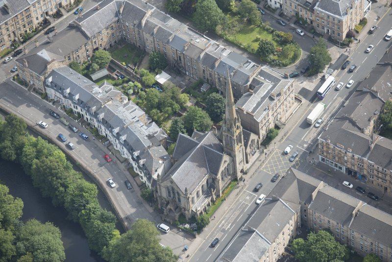 Oblique aerial view of Lansdowne United Presbyterian Church, looking E.