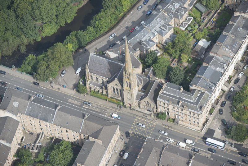 Oblique aerial view of Lansdowne United Presbyterian Church, looking NNE.