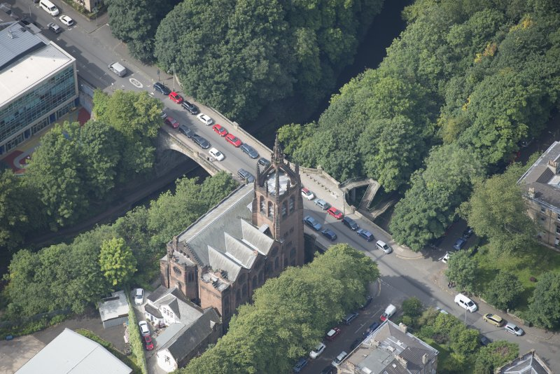 Oblique aerial view of Stevenson Memorial Free Church and Caretaker's House, looking W.
