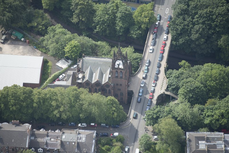 Oblique aerial view of Stevenson Memorial Free Church and Caretaker's House, looking SSW.