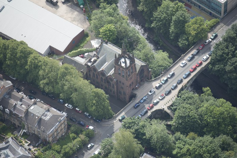 Oblique aerial view of Stevenson Memorial Free Church and Caretaker's House, looking S.