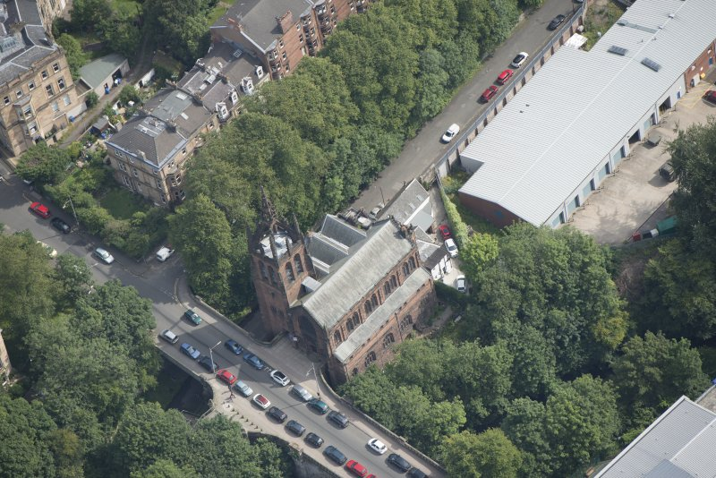 Oblique aerial view of Stevenson Memorial Free Church and Caretaker's House, looking ENE.