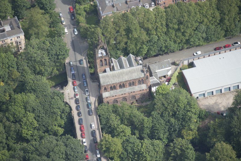 Oblique aerial view of Stevenson Memorial Free Church and Caretaker's House, looking NE.