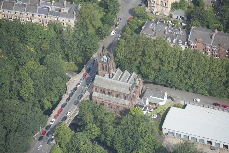 Oblique aerial view of Stevenson Memorial Free Church and Caretaker's House, looking N.