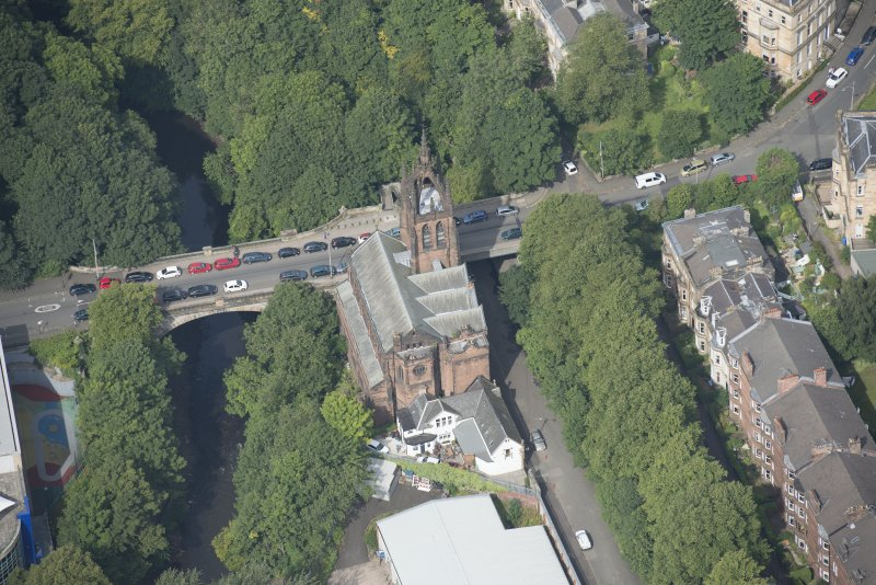 Oblique aerial view of Stevenson Memorial Free Church and Caretaker's House, looking WNW.