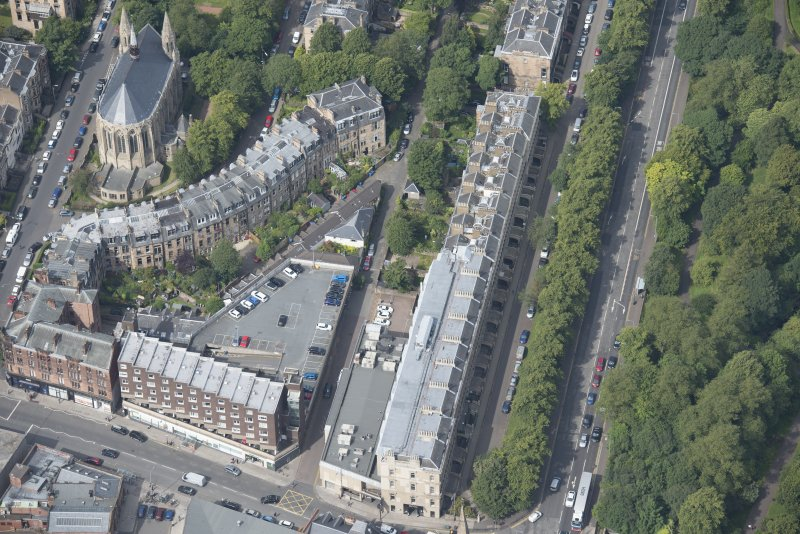 Oblique aerial view of Grosvenor Terrace and Grosvenor Hotel, looking WNW.