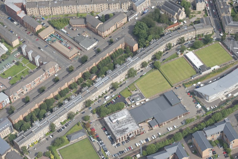Oblique aerial view of St Vincent Crescent, looking NE.